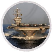 Uss Dwight D. Eisenhower Round Beach Towel