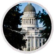 Utah State Capitol Building, Salt Lake Round Beach Towel by Panoramic Images