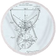 Kettle Drum Patent Drawing On Blue Background Round Beach Towel