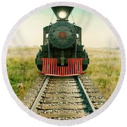 Vintage Train Engine Round Beach Towel