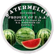 Watermelon Farm Round Beach Towel