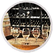 Wine Glasses And Barrels Round Beach Towel