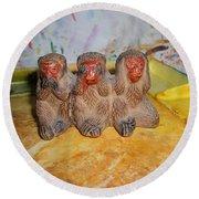 3 Wise Monkeys Watercolor Pallet Round Beach Towel