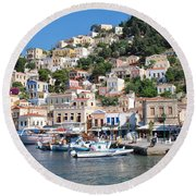Yialos Harbour Symi Round Beach Towel