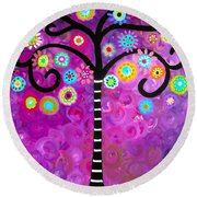 Round Beach Towel featuring the painting Tree Of Life by Pristine Cartera Turkus