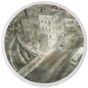 Round Beach Towel featuring the drawing 34th St. New York City by Joan Reese