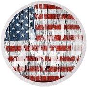 American Flag 49 Round Beach Towel