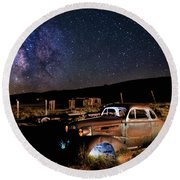 '37 Chevy And Milky Way Round Beach Towel