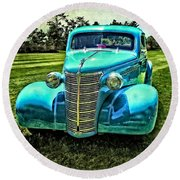 38 Chevy Coupe Round Beach Towel
