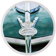 1937 Ford Pickup Truck V8 Emblem Round Beach Towel