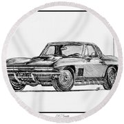 1967 American Muscle Round Beach Towel