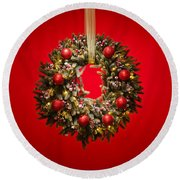 Advent Wreath Over Red Background Round Beach Towel
