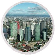 Aerial View Of Cityscape, Makati Round Beach Towel