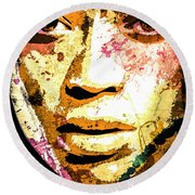 Round Beach Towel featuring the digital art Beyonce by Svelby Art