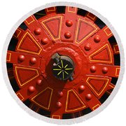 Big Red Wheel - 137 Round Beach Towel