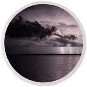 4 Bolts Over Captiva Island Round Beach Towel