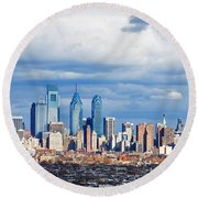 Buildings In A City, Comcast Center Round Beach Towel