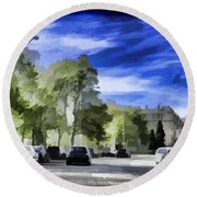 Cars On A Street In Edinburgh Round Beach Towel
