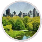 Central Park In New York Round Beach Towel