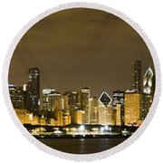 Chicago Skyline At Night Round Beach Towel