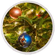 Round Beach Towel featuring the photograph Christmas Tree Ornaments by Alex Grichenko
