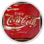 Coca Cola Vintage Rusty Sign Black Border Round Beach Towel