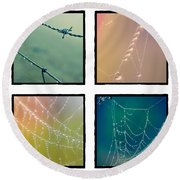 4 Color Web Droplets Round Beach Towel