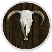 Cow Skull Round Beach Towel