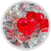 Crystal Heart Round Beach Towel
