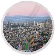 Elevated View Of Skylines In A City Round Beach Towel