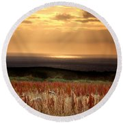 Evening At The Sea Round Beach Towel