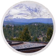 Freight On The Divide Round Beach Towel