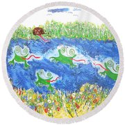 4 Frogs And A Bear Round Beach Towel