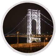 George Washington Bridge On President's Day Round Beach Towel