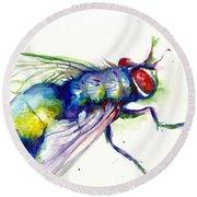 Green Fly Original Watercolor Round Beach Towel
