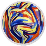 Round Beach Towel featuring the painting Here by Helena Wierzbicki