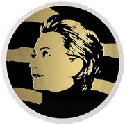 Hillary Clinton Gold Series Round Beach Towel by Marvin Blaine