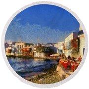Little Venice In Mykonos Island Round Beach Towel