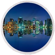 Miami Skyline At Night Round Beach Towel by Carsten Reisinger