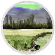 Mustard Fields In Kashmir Round Beach Towel