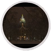 Notre Dame Golden Dome Snow Poster Round Beach Towel
