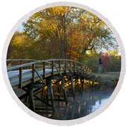 Old North Bridge Concord Round Beach Towel