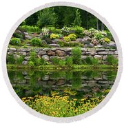 Rocks And Plants In Rock Garden Round Beach Towel