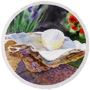 Sea Shell And Pearls Morning Light Round Beach Towel