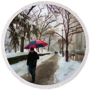 Snowfall In Central Park Round Beach Towel