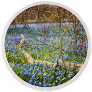 Spring Blue Flowers Wood Squill Round Beach Towel