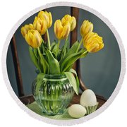 Still Life With Yellow Tulips Round Beach Towel by Nailia Schwarz