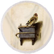 Round Beach Towel featuring the painting The Goldfinch by Carel Fabritius