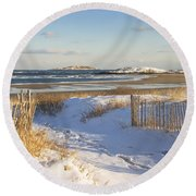 Winter At Popham Beach State Park Maine Round Beach Towel by Keith Webber Jr