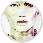 Round Beach Towel featuring the digital art Jennifer Lawrence by Svelby Art